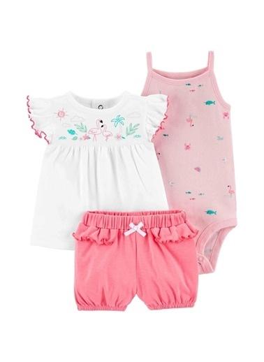 Carters Carter'S Flamingo 3'Lü Şortlu Bebek Takımı Pembe